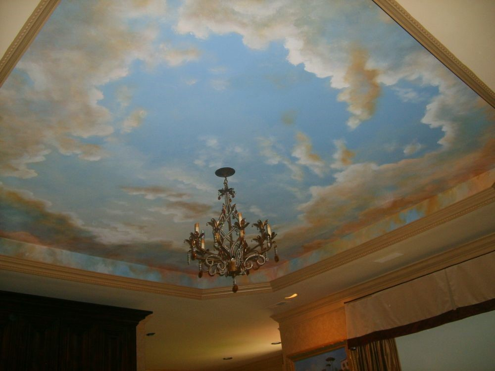 What kind of ceilings to include in your house plans for Cloud mural ceiling
